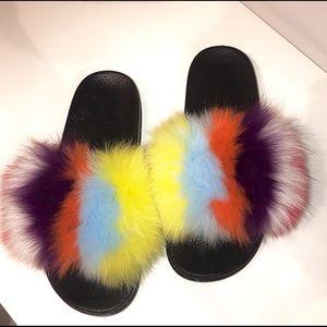 Multi Color Fur Slides